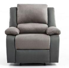 Fauteuil relaxation manuel microfibre et simili cuir gris Confort