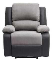 Fauteuil relaxation manuel microfibre gris et simili cuir noir Confort