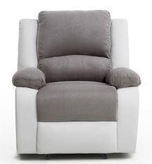 Fauteuil relaxation manuel simili cuir blanc et microfibre gris Confort