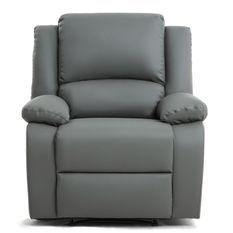 Fauteuil relaxation manuel simili cuir gris Confort