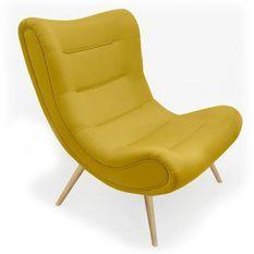 Fauteuil scandinave tissu jaune et pieds bois clair Ulric