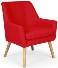 Fauteuil scandinave tissu rouge Gustavo
