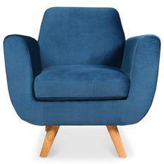 Fauteuil scandinave velours bleu Annis