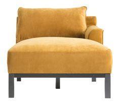 Fauteuil tissu jaune et pieds pin massif noir Sadok
