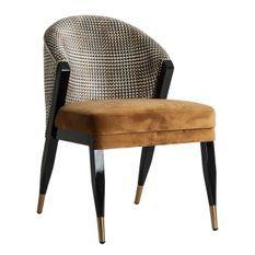 Chaise art déco velours moutarde et pieds bois massif noir Bari - Lot de 2