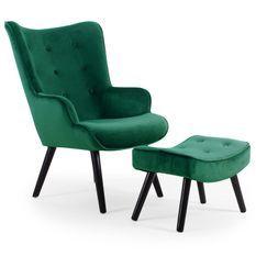 Fauteuil velours vert scandinave avec repose pieds Sonia