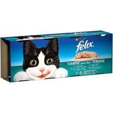 FELIX Terrines - Viandes et poissons - Pour chat adulte - 4 x 400 g