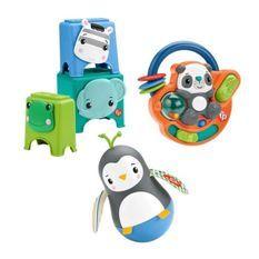 Fisher-Price - Coffret je découvre mes mains, 3 jouets d'éveil, spécial motricité fine - Jouet d'éveil Bébé - Des 6 mois