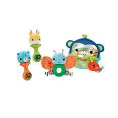 Fisher-Price - Coffret Mes Premiers Jeux, coffret cadeau avec des jouets d'éveil sensoriels - Jouet d'éveil bébé - Des 3 mois