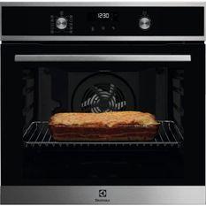 Four électrique encastrable pyrolyse chaleur pulsée - ELECTROLUX - EOF6P41X - Inox - Porte froide - 68 L - Classe A+ - Ecran LCD
