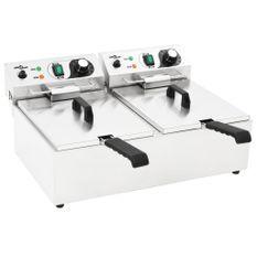 Friteuse double électrique Acier inoxydable 20 L 6000 W