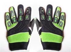 Gants de cross enfant nylon noir et vert