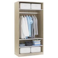 Garde-robe Blanc et chêne sonoma 100 x 50 x 200 cm Aggloméré