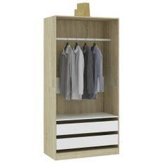 Garde-robe Blanc et chêne sonoma 100x50x200 cm Aggloméré