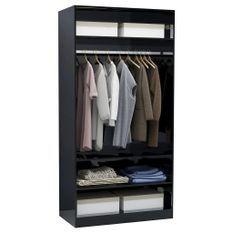 Garde-robe Noir brillant 100 x 50 x 200 cm Aggloméré