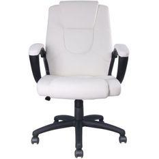 GASPARD Fauteuil de bureau - Simili Blanc - L 55 x P 50 x H 103-113 cm