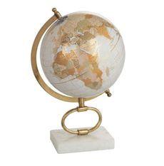 Globe marbre blanc et pied métal doré Narsh D 22 cm