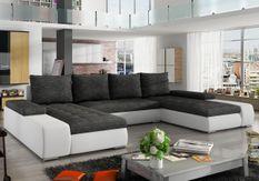 Grand canapé panoramique design simili cuir blanc et tissu gris chiné Tino 363 cm