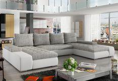 Grand canapé panoramique design simili cuir blanc et tissu gris clair Tino 363 cm