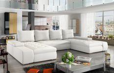 Grand canapé panoramique design simili cuir blanc Tino 363 cm