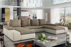 Grand canapé panoramique design simili cuir crème et tissu beige Tino 363 cm