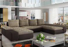 Grand canapé panoramique design simili cuir marron et tissu beige Tino 363 cm