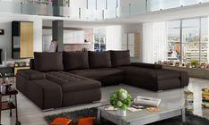 Grand canapé panoramique design simili cuir marron Tino 363 cm