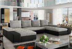 Grand canapé panoramique design simili cuir noir et tissu gris chiné Tino 363 cm