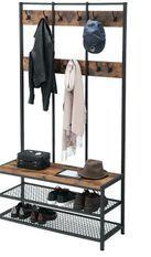 Grand porte-manteaux industriel bois vintage et acier noir Kaza