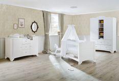 Grande chambre bébé 3 pièces pin massif blanc Pino 70x140 cm