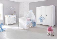 Grande chambre bébé 3 pièces pin massif blanc Smilla 70x140 cm
