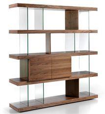 Grande étagère moderne bois noyer et verre trempé Atly 180 cm