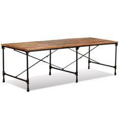 Grande table industrielle rectangulaire bois massif recomposé Vintale 240 cm