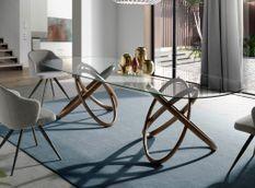 Grande table ovale torsadée bois noyer et verre trempé Artista 300 cm