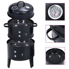 Gril barbecue au charbon 3 en 1 40x80 cm