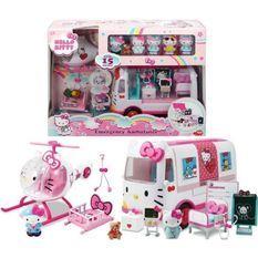 HELLO KITTY Playset De Secours avec Ambulance et Hélicoptere + 6 figurines