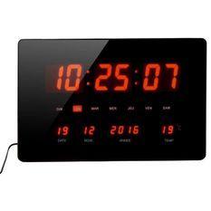 Horloge Calendrier a LED - Grands caracteres - Multifonctions - Piles fournies - 36x22cm - Noir