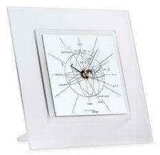 Horloge de table carrée méthacrylate blanc Astronomiae
