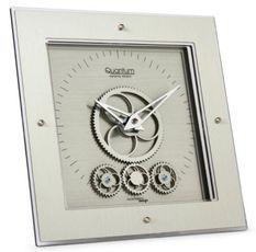Horloge de table carrée méthacrylate plaqué argent Quantum