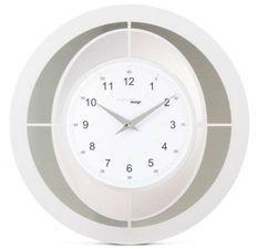 Horloge murale ronde méthacrylate plaqué argent Tempus