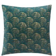 Housse de coussin chenille Art déco - 40 x 40 cm - Vert