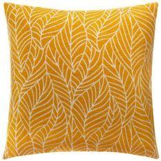 Housse de coussin Chenille feuille Polyester, coton et viscose - 40x40 cm - Ocre