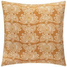 Housse de coussin Chenille fleur - 40 x 40 cm - Jaune ocre
