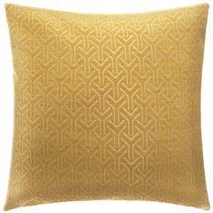 Housse de coussin Chenille géométrique - 40 x 40 cm - Jaune ocre