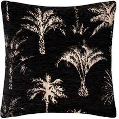 Housse de coussin Chenille Palm - 40 x 40 cm - Noir