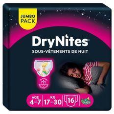 HUGGIES Culottes de nuit pour fille Drynite - 8 a 15 ans - 17 a 30 kg