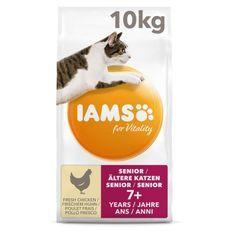 IAMS Vitality Croquettes Premium Chats séniors - Au poulet frais - Sans OGM colorant arôme artificiel - Sac refermable 10 kg