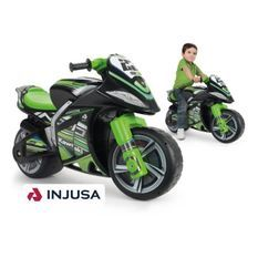 INJUSA Porteur moto enfant noir et vert Foot To Floor Winner Kawasaki