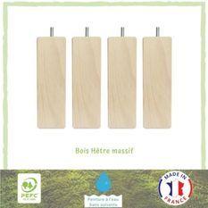 Jeu de pieds carrés en bois - L 5,4 x l 5,4 x H 15 cm - Lot de 4