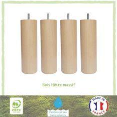 Jeu de pieds cylindriques en bois Ø 6,2 cm - H 17 cm - Lot de 4